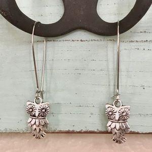Owl antique silver dangle earrings